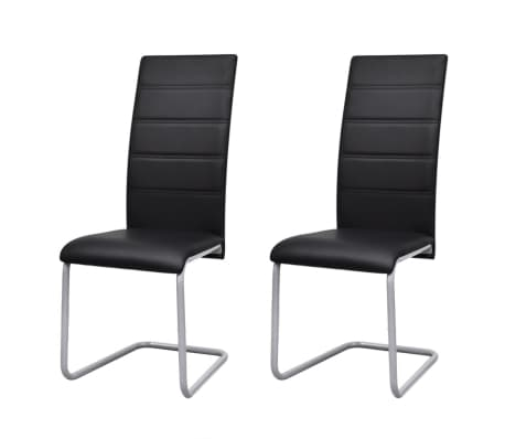 vidaXL Gembinės valgomojo kėdės, 2vnt., juodos, dirbtinės odos