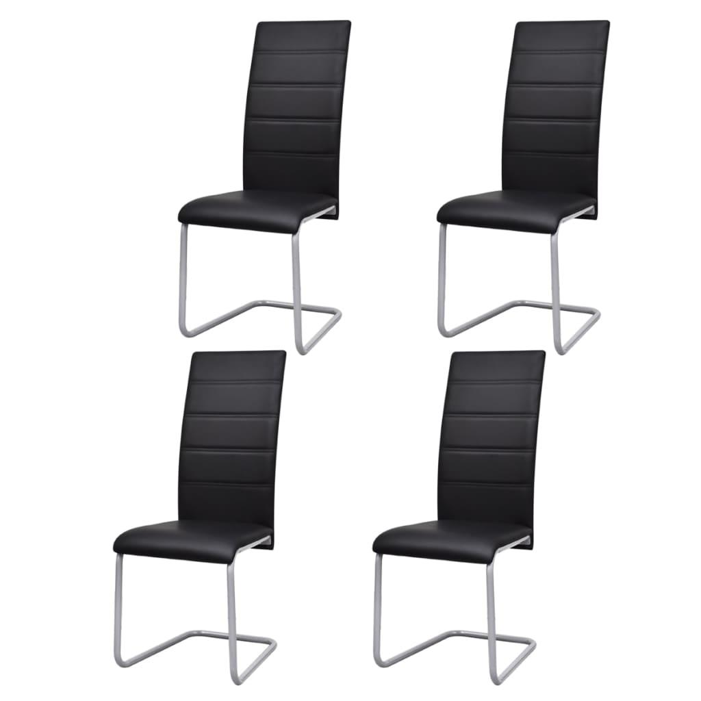 vidaXL Jídelní židle 4 ks konzolové černé