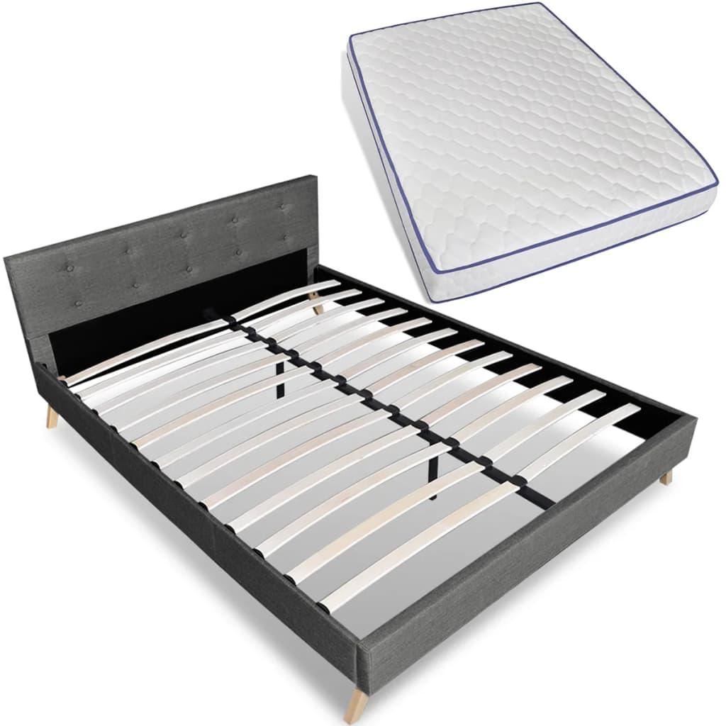 vidaXL Κρεβάτι Ανοιχτό Γκρι 140 x 200 εκ. Υφασμάτινο με Στρώμα