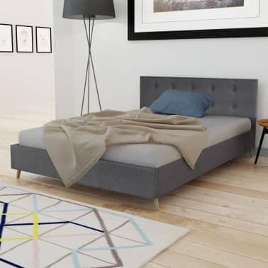 acheter lit en bois 140 cm avec rev tement tissu gris fonc matelas surmatelas pas cher. Black Bedroom Furniture Sets. Home Design Ideas