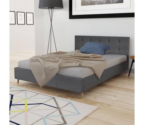 acheter lit bois 140cm tissu gris fonc matelas surmatelas m moire pas cher. Black Bedroom Furniture Sets. Home Design Ideas