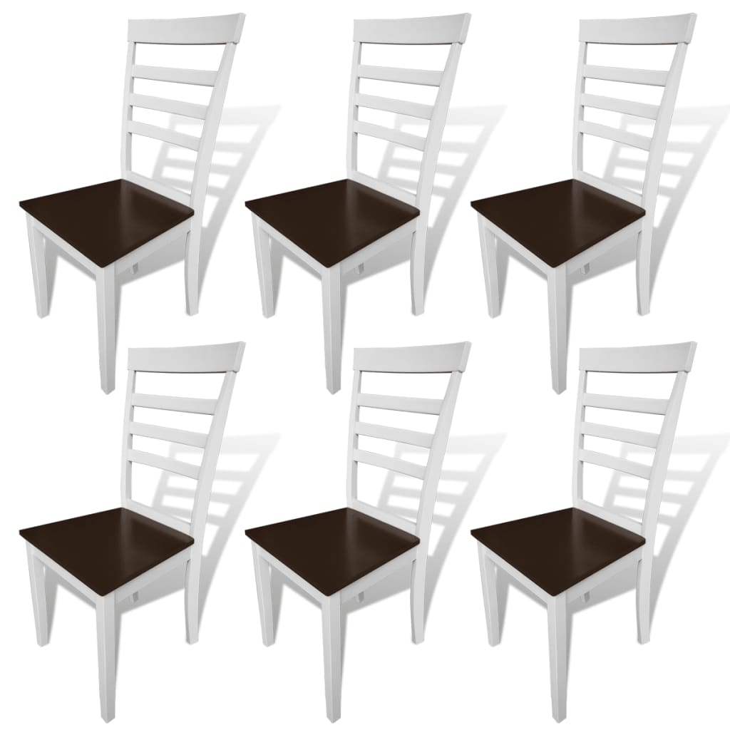 vidaXL Καρέκλες Τραπεζαρίας 6 τεμ. Καφέ/Λευκό από Μασίφ Ξύλο