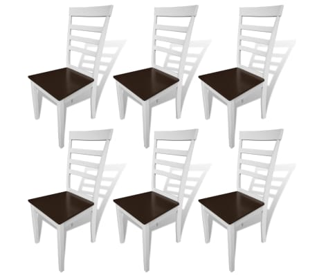 vidaXL Dining Chairs 6 pcs Solid Wood Brown and White[1/4]