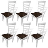 vidaXL Dining Chairs 6 pcs Solid Wood Brown and White