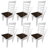 vidaXL Hnedo biele kuchynské stoličky z masívu, 6 ks