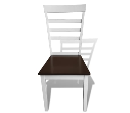 vidaXL Dining Chairs 6 pcs Solid Wood Brown and White[3/4]