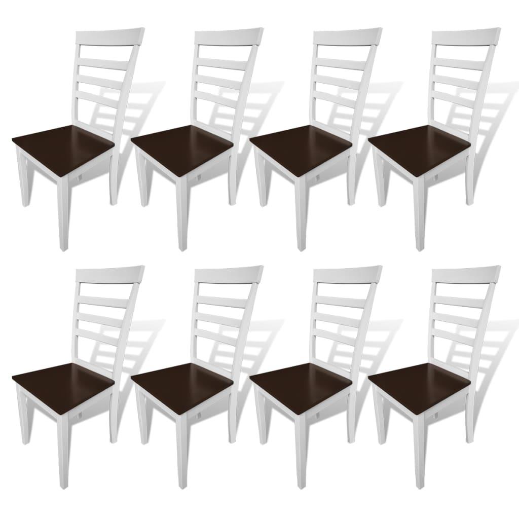 vidaXL spisebordsstole 8 stk. massivt træ og MDF brun og hvid