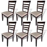 vidaXL Hnedo krémové kuchynské stoličky z masívu, 6 ks