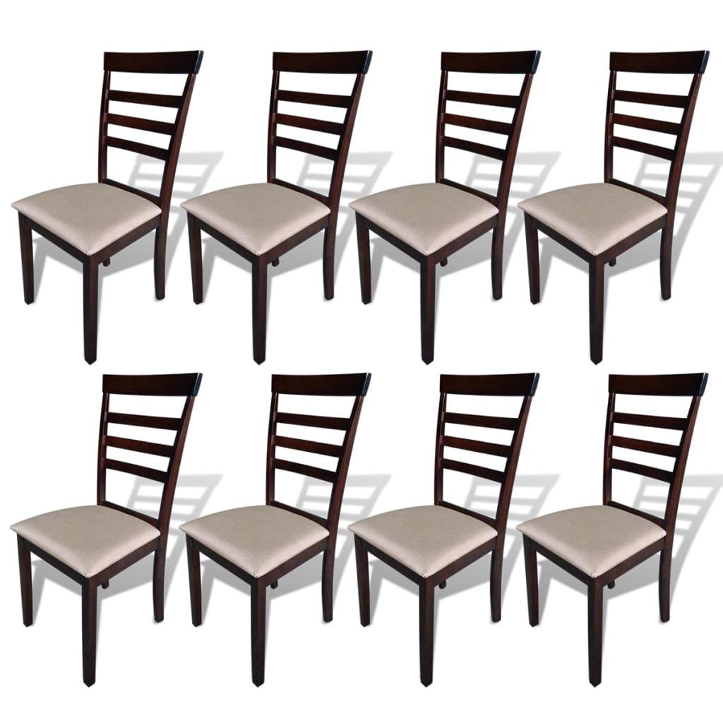 vidaXL spisebordsstole 8 stk. massivt træ og stof brun og cremefarvet