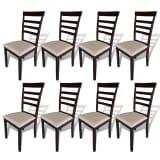 vidaXL Valgomojo kėdės, 8vnt., rudos ir kreminės, mediena ir audinys