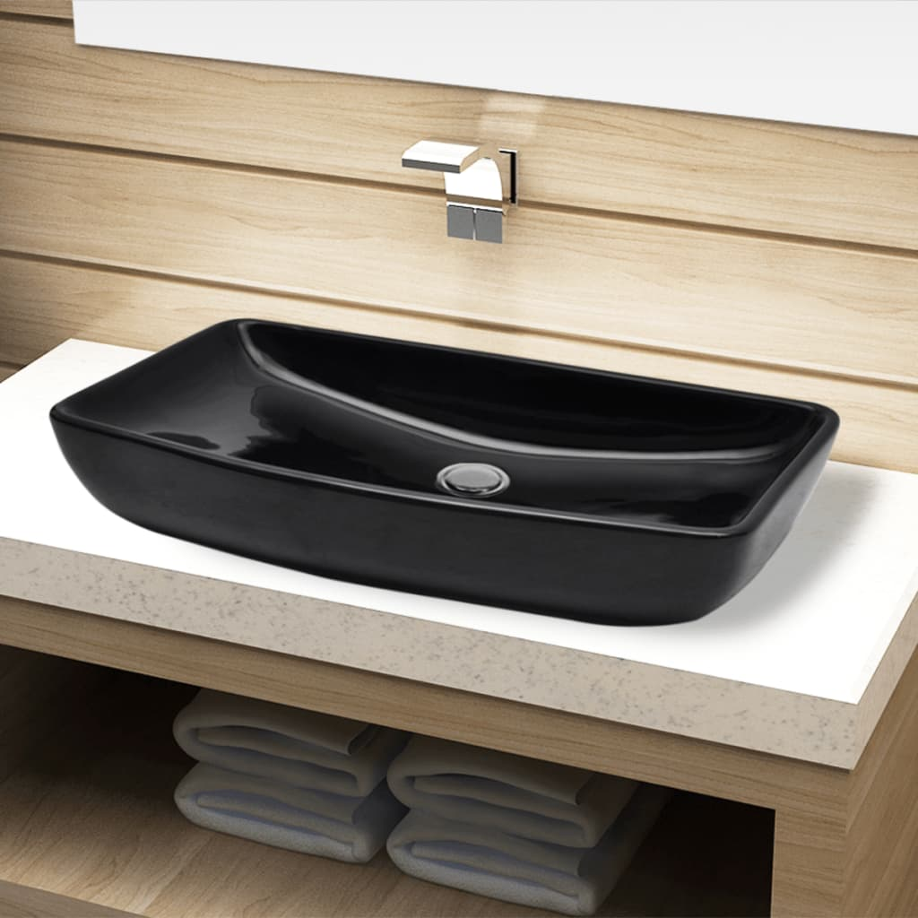 Chiuveta baie din ceramică, dreptunghiular, negru poza vidaxl.ro