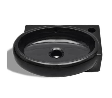 Keramické umývadlo s prepadom a otvorom na batériu, čierne, okrúhle[5/6]