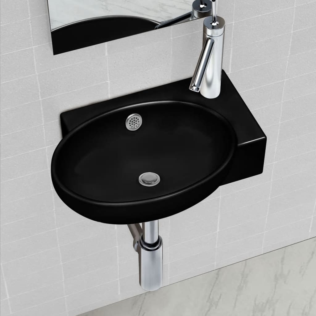 vidaXL Ceramic Bathroom Sink Basin Faucet/Overflow Hole Black Round