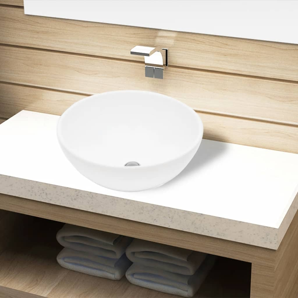 vidaXL Ceramic Bathroom Sink Basin White Round