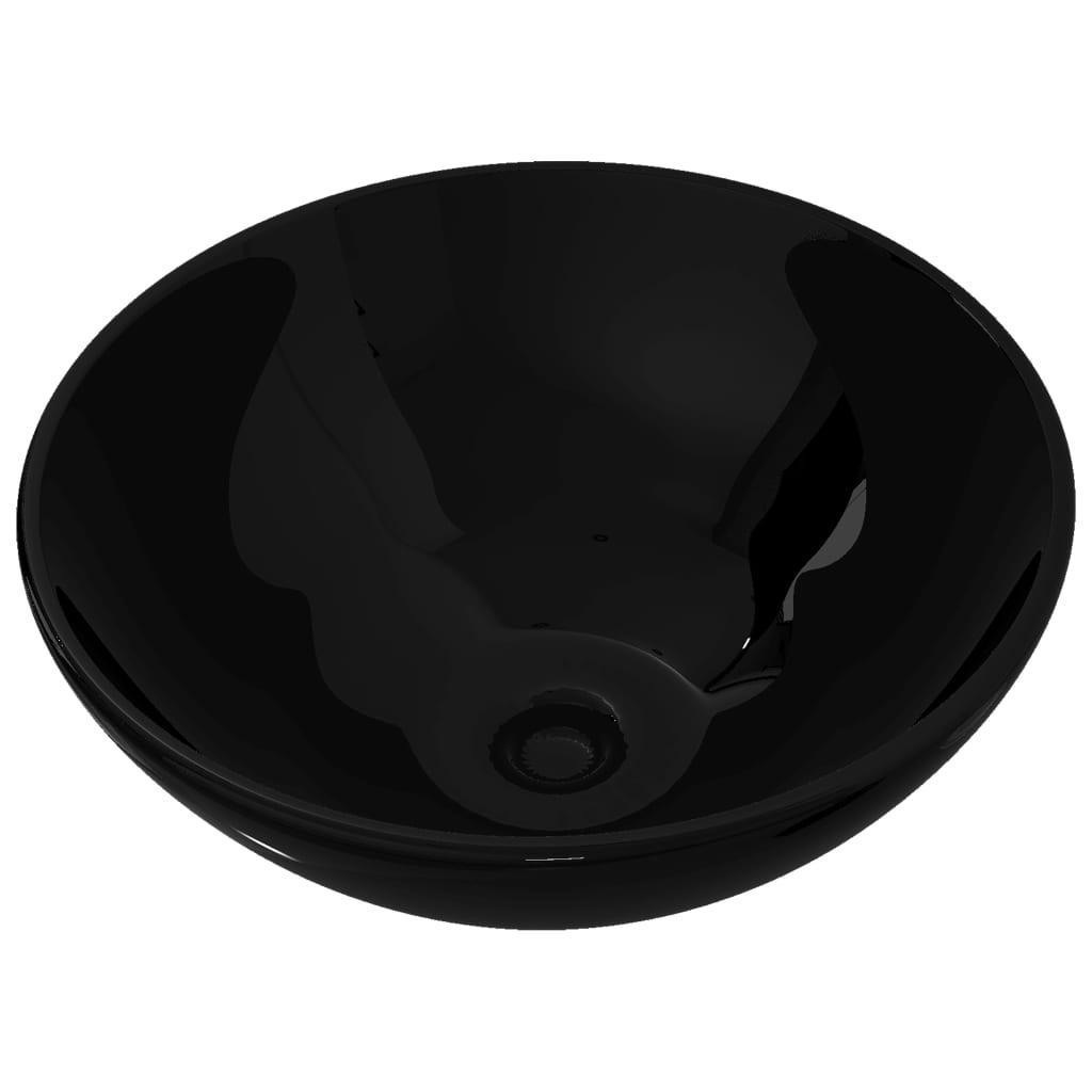 vidaXL Νιπτήρας Μπάνιου Στρογγυλός Μαύρος Κεραμικός