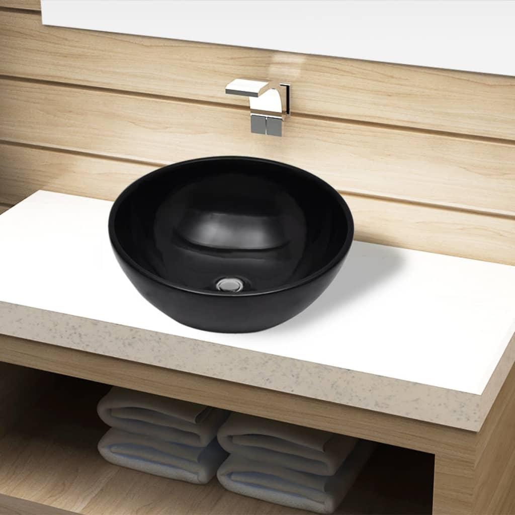 Chiuvetă ceramică pentru baie, rotundă, neagră vidaxl.ro