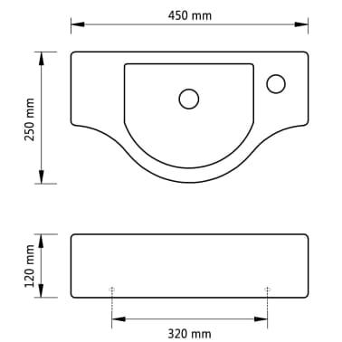 Lavabo de cerámica con agujero para grifo color negro[6/6]