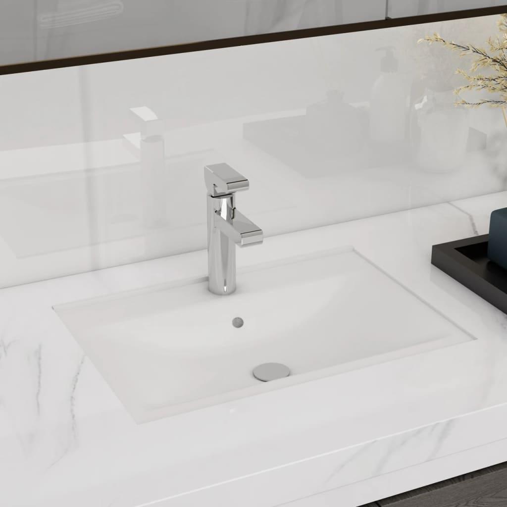 Chiuvetă dreptunghiulară de baie din ceramică, alb vidaxl.ro