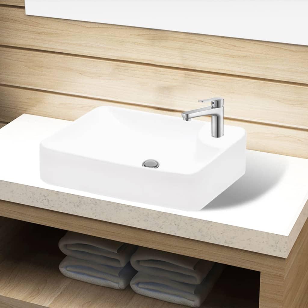 Bazin chiuvetă de baie din ceramică cu gaură pentru robinet, alb imagine vidaxl.ro