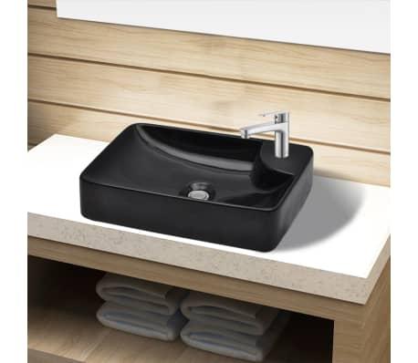 Vasque à trou pour robinet céramique Noir pour salle de bain