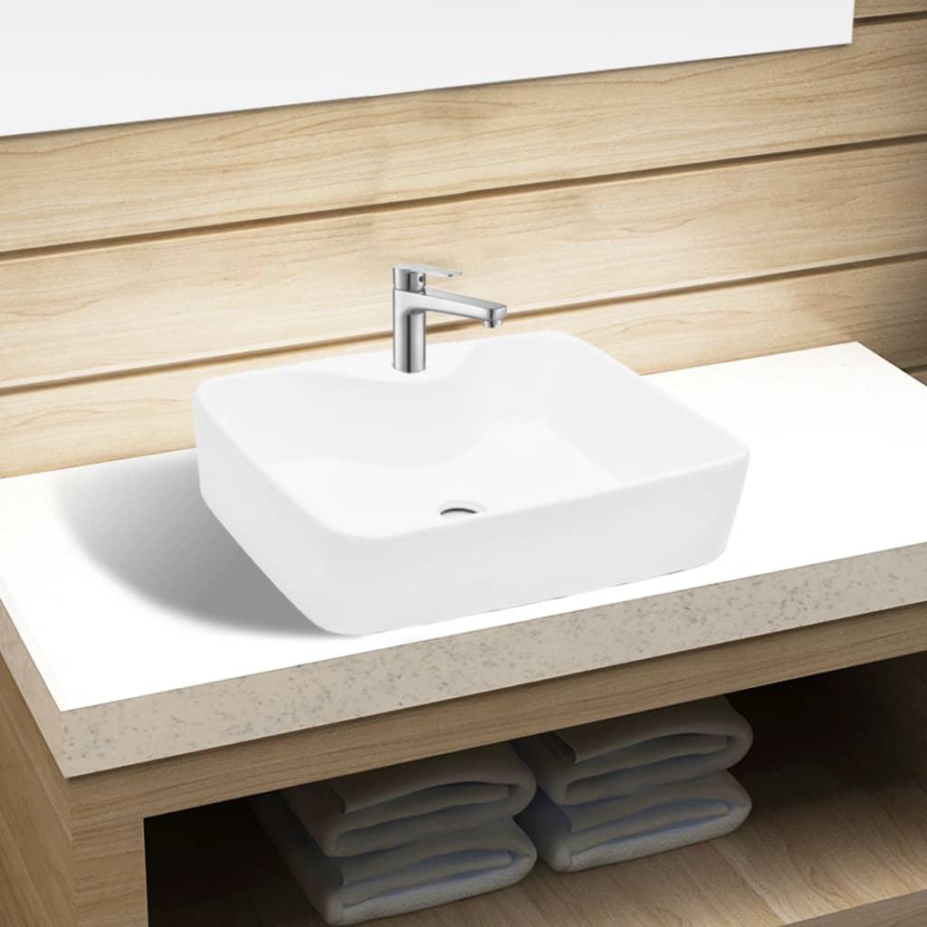 Chiuvetă de baie pătrată din ceramică cu gaură pentru robinet, alb vidaxl.ro