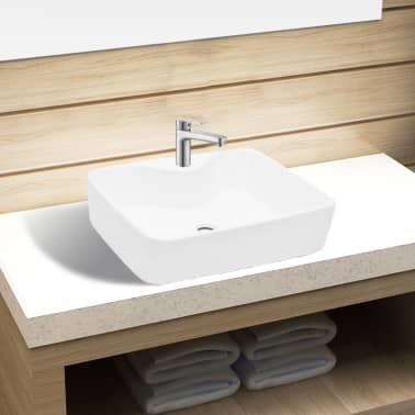Ceramic Bathroom Sink Basin with Faucet Hole White Square[1/6]