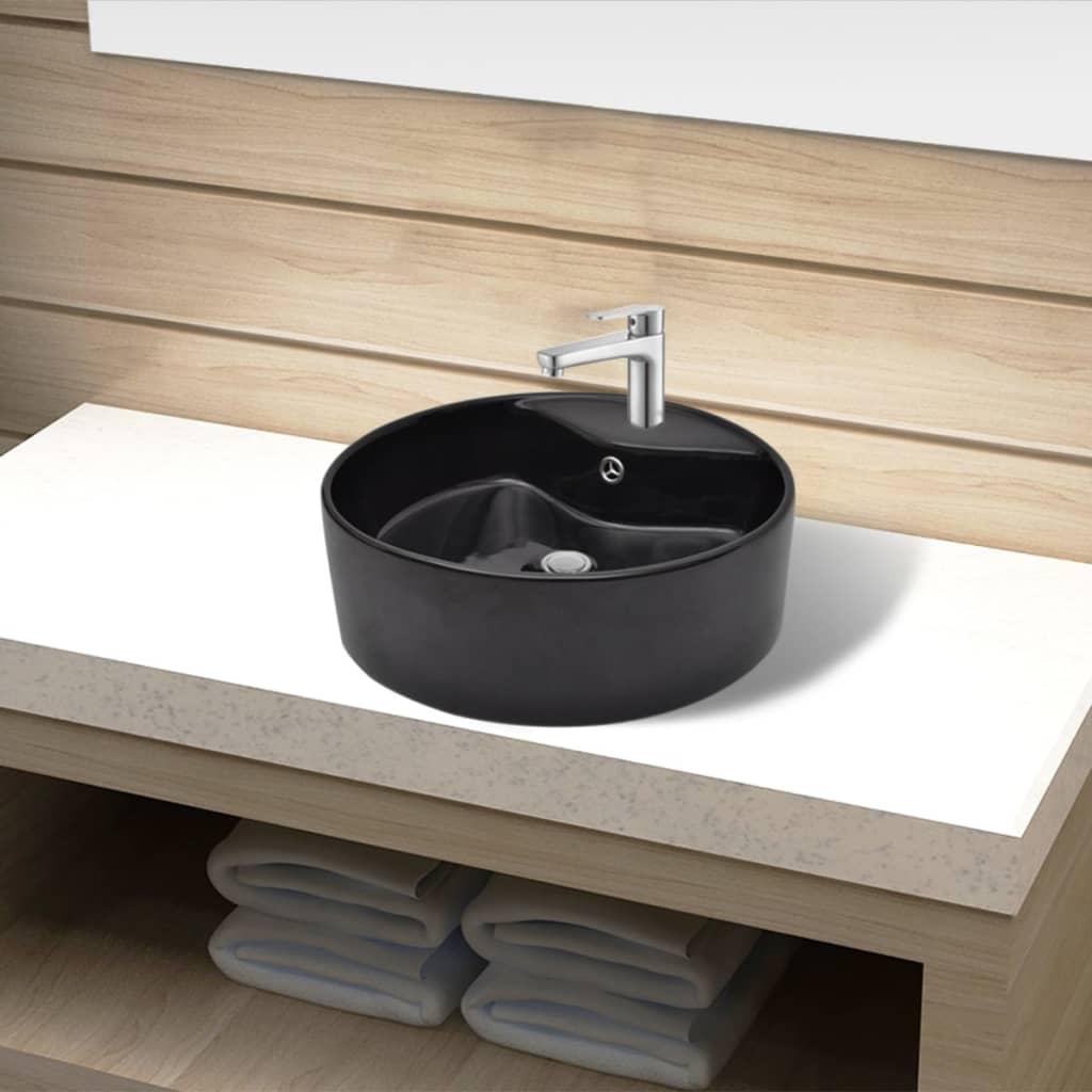 Bazin chiuvetă ceramică baie cu gaură robinet/preaplin, rotund, negru imagine vidaxl.ro