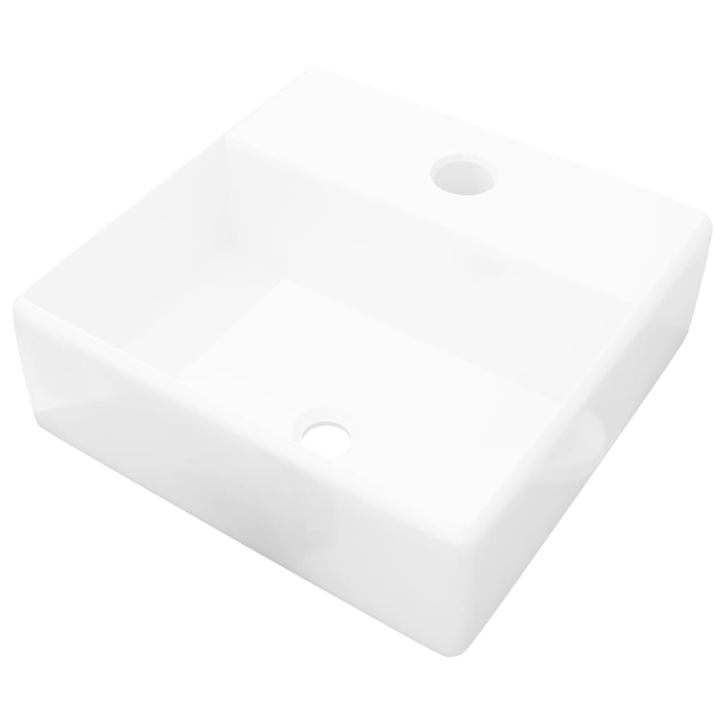 Νιπτήρας Μπάνιου Τετράγωνος με Οπή Βρύσης Λευκός Κεραμικός