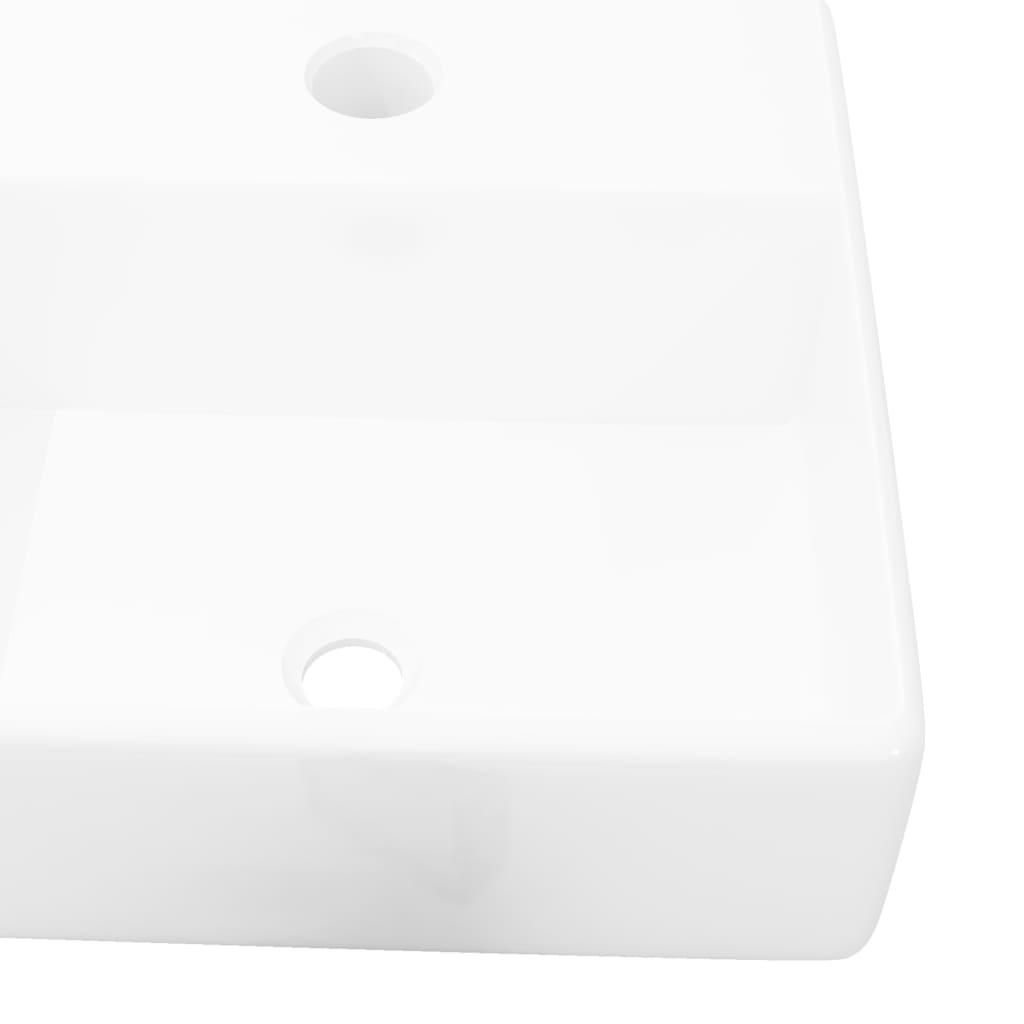 Keramické umyvadlo s otvorem na baterii bílé čtvercové