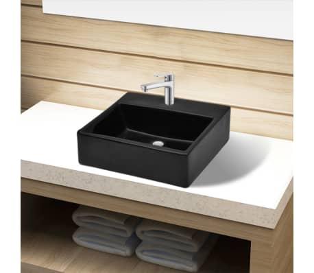 acheter vasque rectangulaire trou noir en c ramique pour salle de bain pas cher. Black Bedroom Furniture Sets. Home Design Ideas