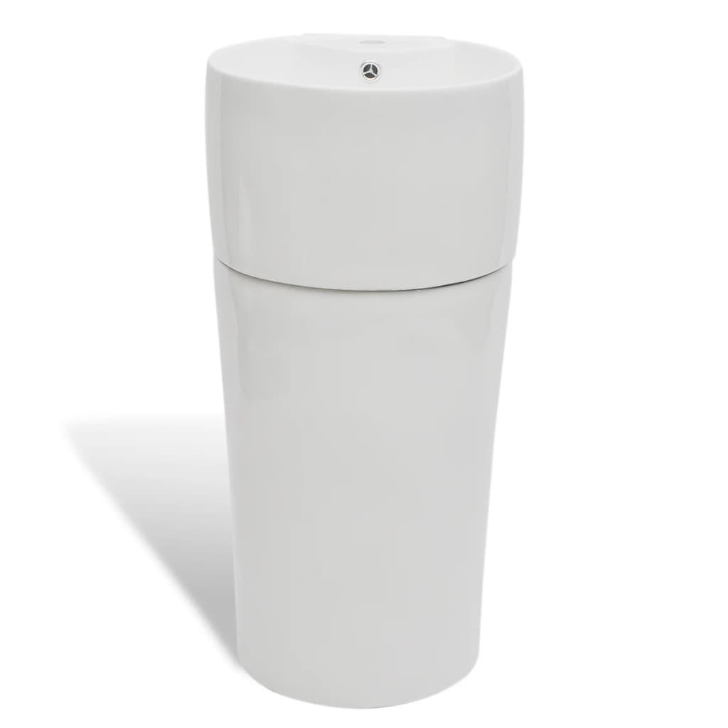 99141942 Keramik Standwaschbecken mit Hahn/Überlaufloch weiß rund
