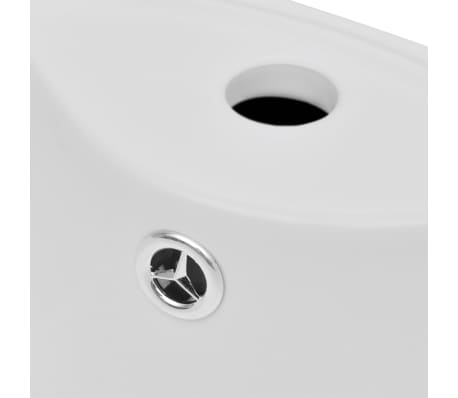 vidaXL Lavabo de pie redondo de cerámica hueco de grifo/desagüe blanco[4/7]