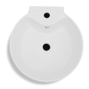 vidaXL Lavabo de pie redondo de cerámica hueco de grifo/desagüe blanco[5/7]