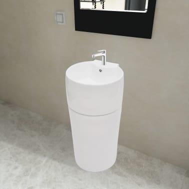 Vasque Trou De Trop Plein Robinet Cramique Blanc Pour Salle Bain