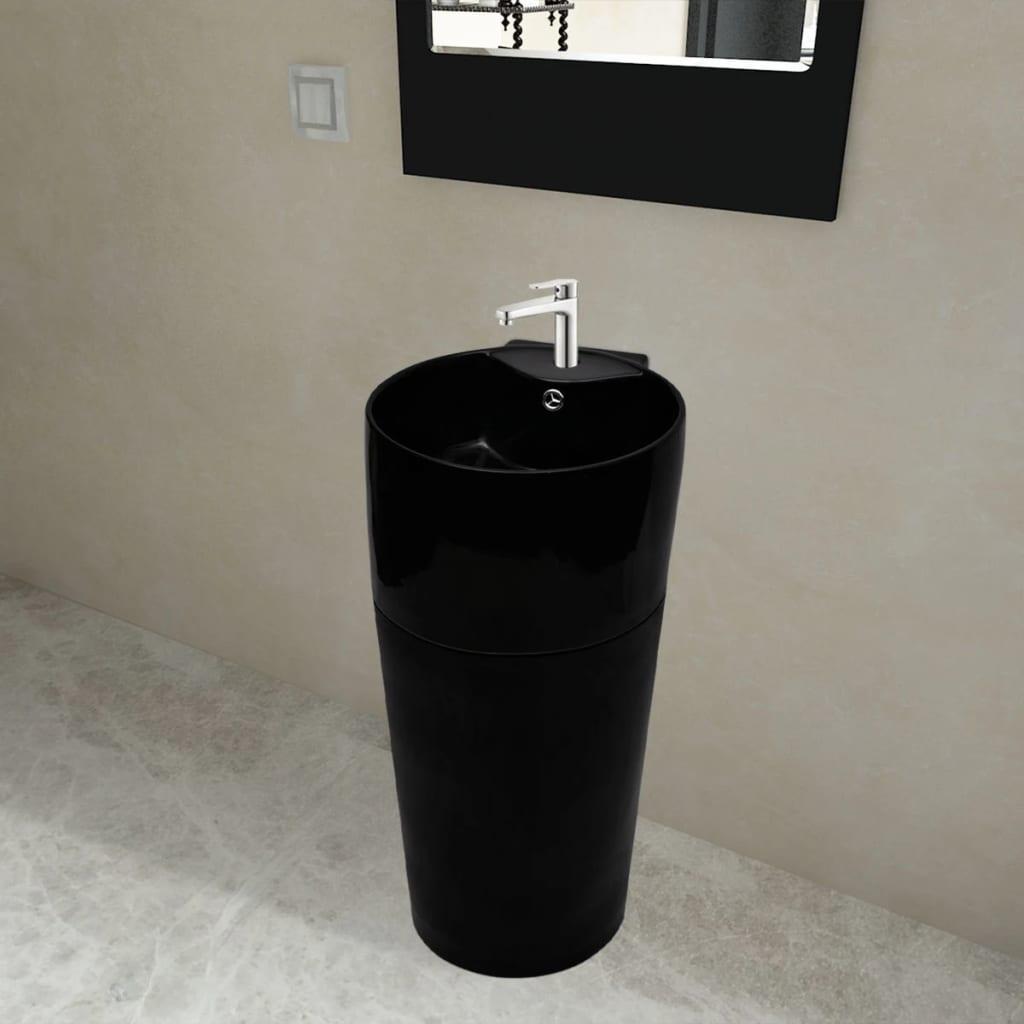 Chiuvetă ceramică verticală rotundă baie bazin/Gaură scurgere, negru imagine vidaxl.ro
