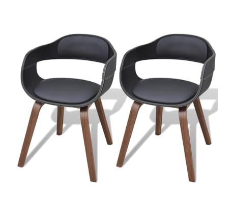 vidaXL Jedálenské stoličky 2 ks, čierne, ohýbané drevo a umelá koža
