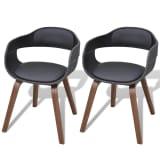 vidaXL Cadeiras de jantar c/ estrutura madeira 2 pcs couro artificial