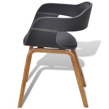Vidaxl 2pz sedie da pranzo telaio in legno curvato e pelle for Sedie pelle e legno