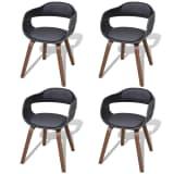vidaXL Cadeiras de jantar c/ estrutura madeira 4 pcs couro artificial