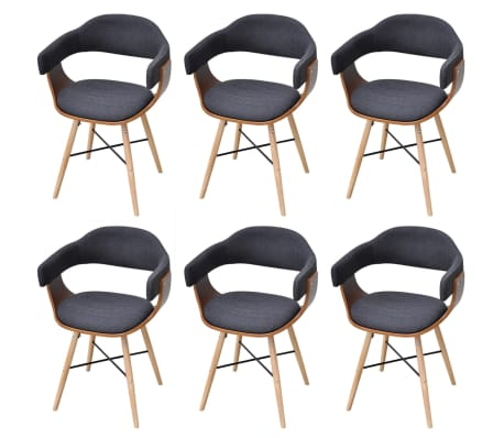 vidaXL Dining Chairs 6 pcs Dark Grey Bent Wood and Fabric