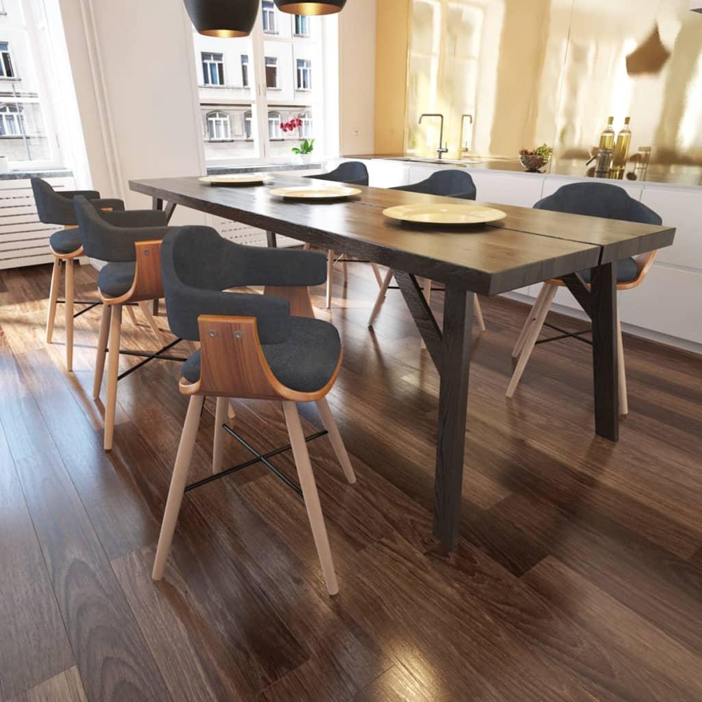vidaXL Καρέκλα Τραπεζαρίας 6 τεμ. από Λυγισμένο Ξύλο με Υφασμάτινη Ταπετσαρία