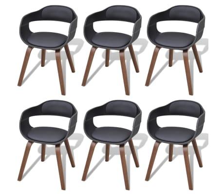 b8e25ef6bcbf4 vidaXL Jedálenská stolička z ohýbaného dreva s poťahom z umelej kože, 6 ks[1