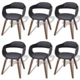 vidaXL Cadeiras de jantar c/ estrutura madeira 6 pcs couro artificial
