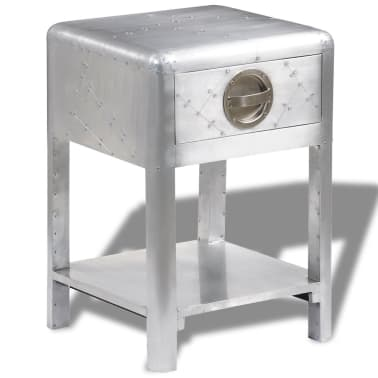 Vidaxl Aviator End Table With 1 Drawer Vintage Aircraft