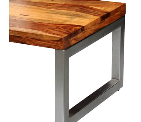 vidaXL Solid Sheesham Wood Coffee Table with Steel Leg[5/8]