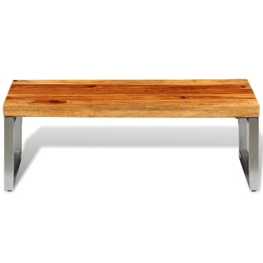 vidaXL Solid Sheesham Wood Coffee Table with Steel Leg[2/8]