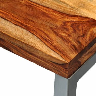 vidaXL Solid Sheesham Wood Coffee Table with Steel Leg[6/8]