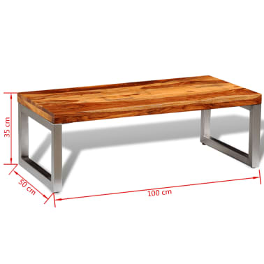 vidaXL Solid Sheesham Wood Coffee Table with Steel Leg[8/8]