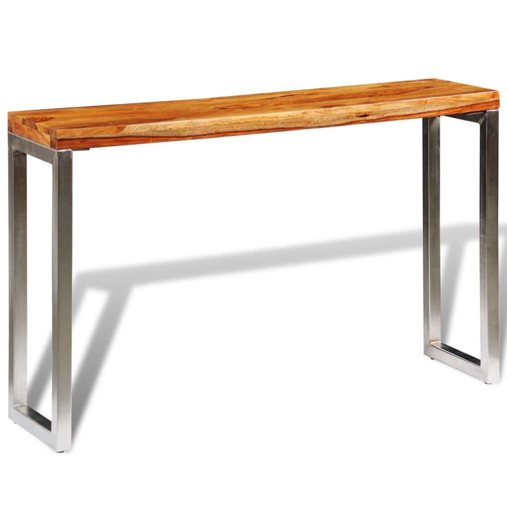 vidaXL Masă consolă din lemn masiv de sheesham cu picioare din oțel imagine vidaxl.ro