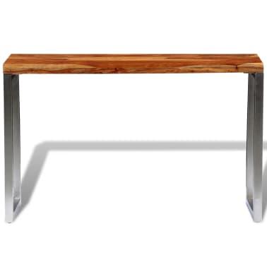 vidaXL Masă consolă din lemn masiv de sheesham cu picioare din oțel[2/7]